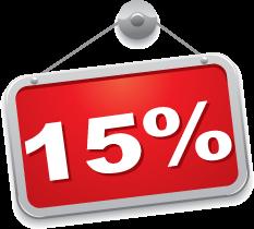 sconto del 15 % tagliando