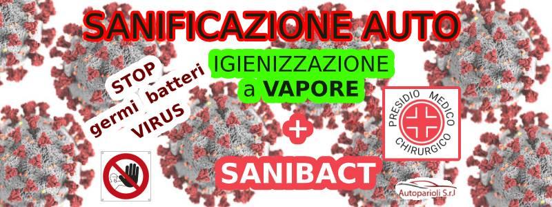 sanificazione auto a Roma Vapore e presidio medico chirurgico SaniBact. Stop a germi e batteri. Efficace contro virus - odore - muffa