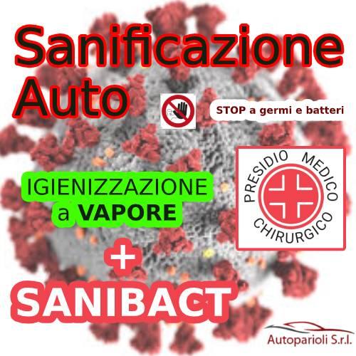 """Sanificazione Auto a Roma – Vapore e SaniBact """"presidio medico chirurgico contro germi e batteri.  Efficace contro virus odori muffe"""""""